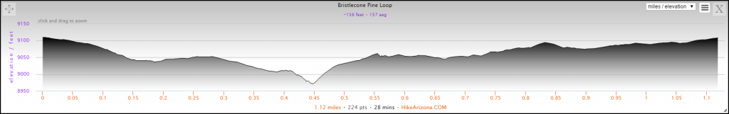 Elevation Profile for the Bristlecone Loop Hike