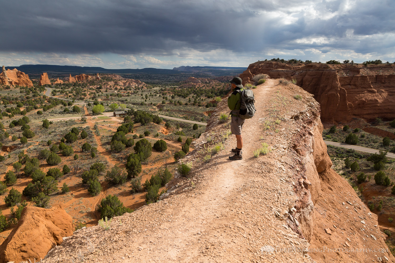 Hiker on Sandstone Ridge