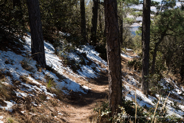 Hiking Trail Through Snow
