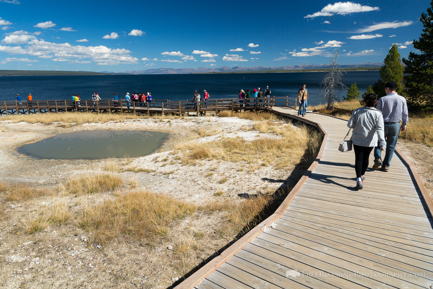 People on Yellowstone Boardwalk
