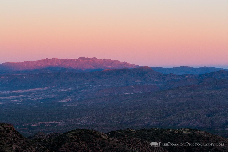 Sunset on Sierra Ancha Mountains