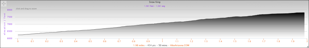 Elevation Profile for Snow King Mountain