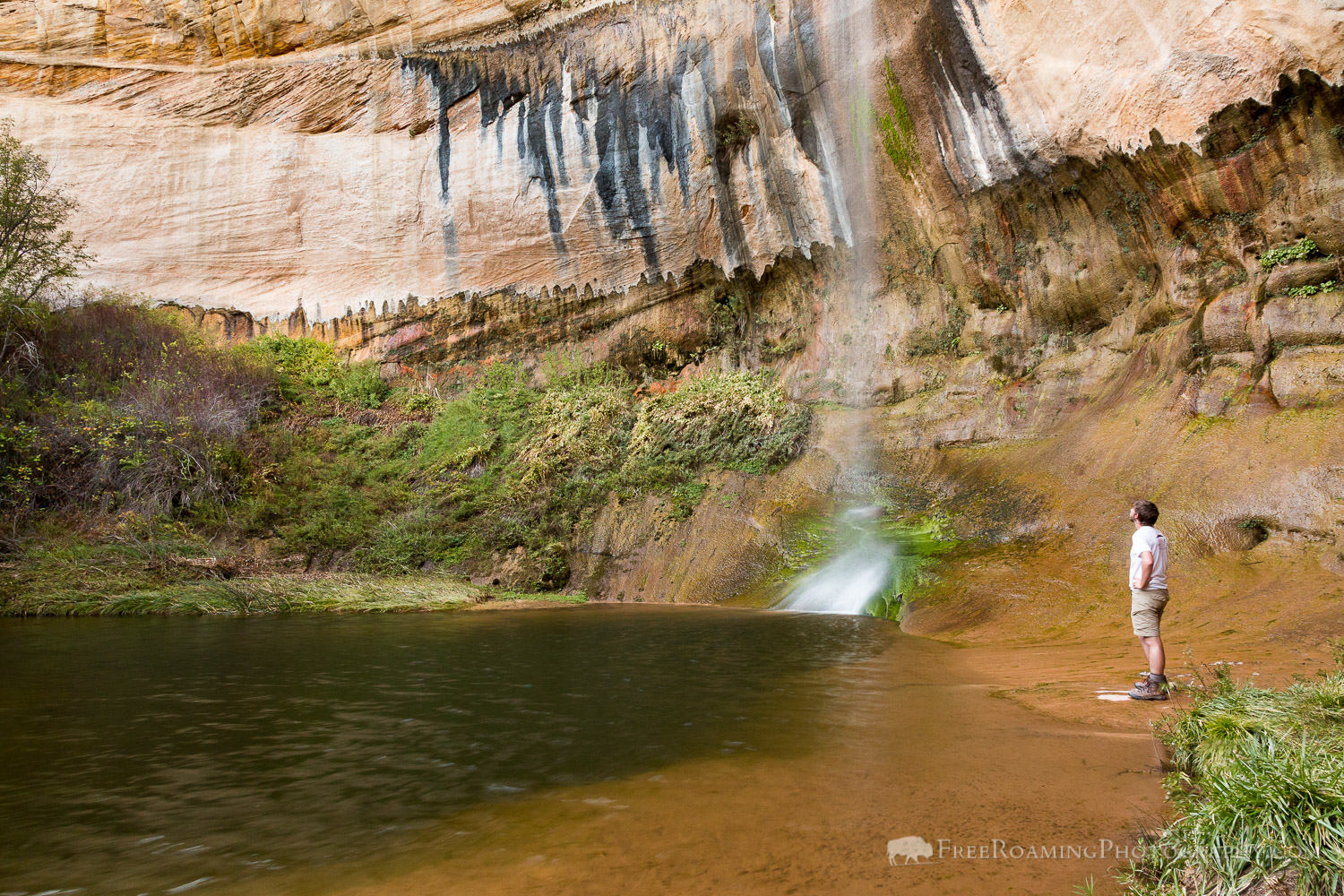 Hiker at Upper Calf Creek Falls