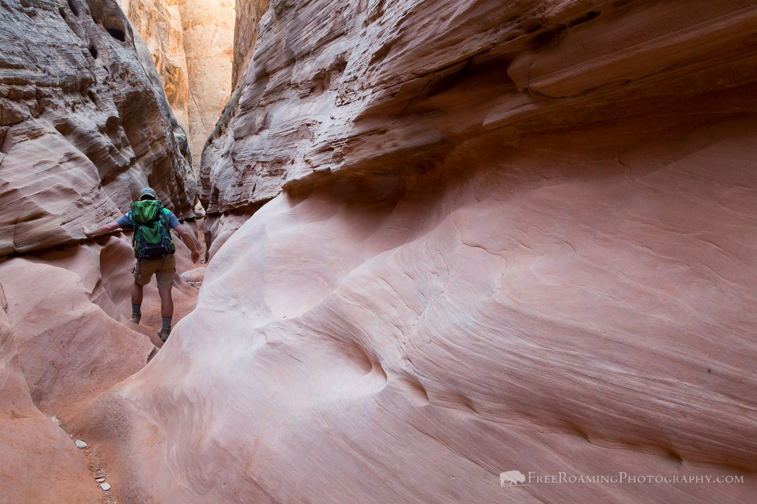 Hiker in Little Wild Horse Canyon