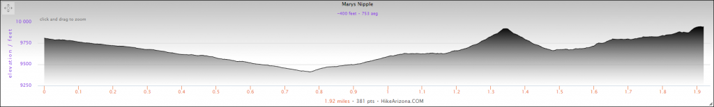 Elevation Profile for the Mary's Nipple and Peak 9943 Hike