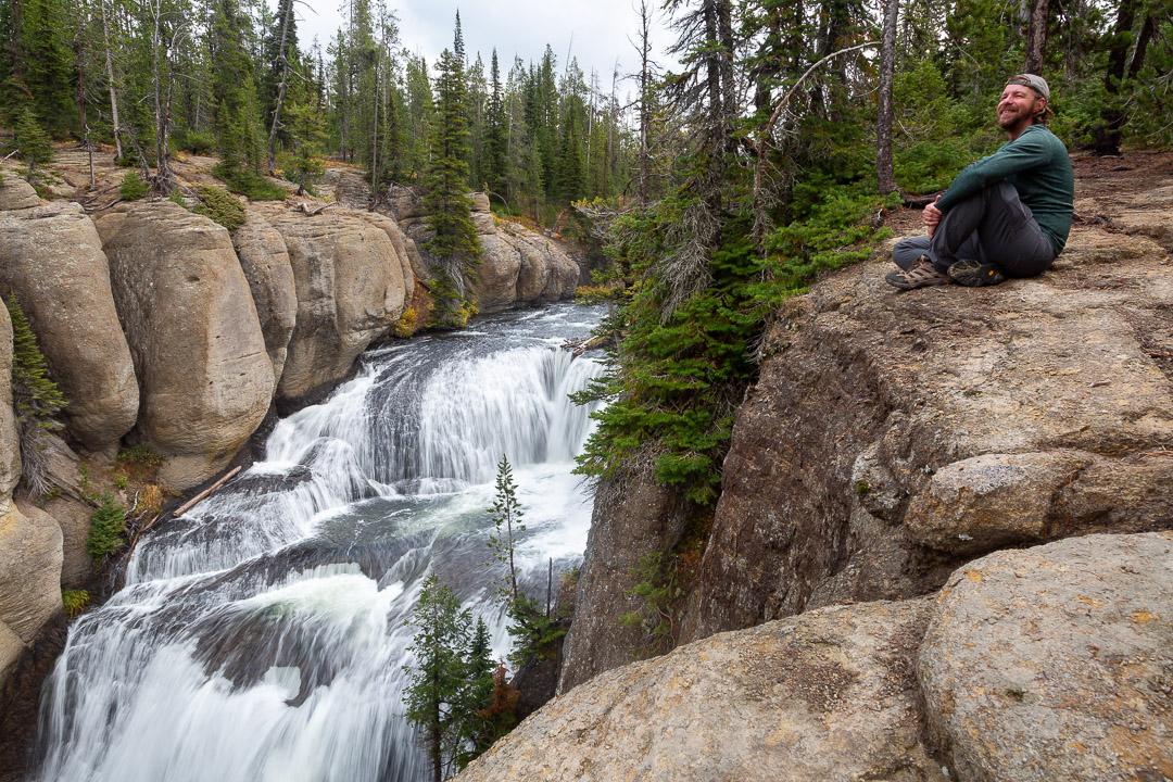 Hiker Enjoying Terraced Falls